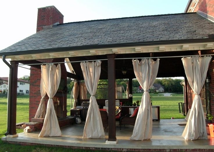 Outdoor Patio Porch Curtains For More Shade During Warm Months. Made With  Grommets Added To Painters Drop Cloths, Hung On Chain Link Fence Supplies.