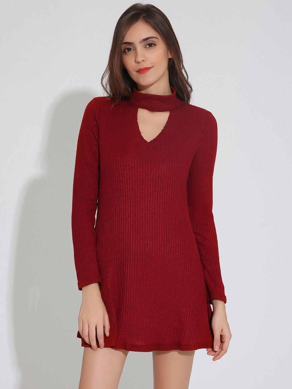 Keyhole Neck Long Sleeve Skater Sweater Dress Wine Red L Online