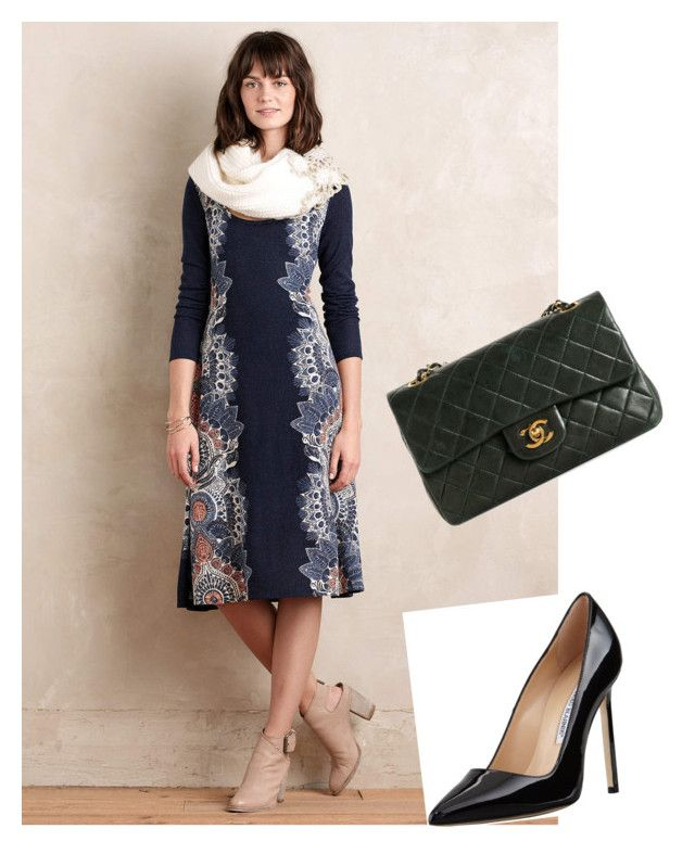 """""""Untitled #337"""" by jennah-abdulla on Polyvore featuring Maeve, Manolo Blahnik and Chanel"""