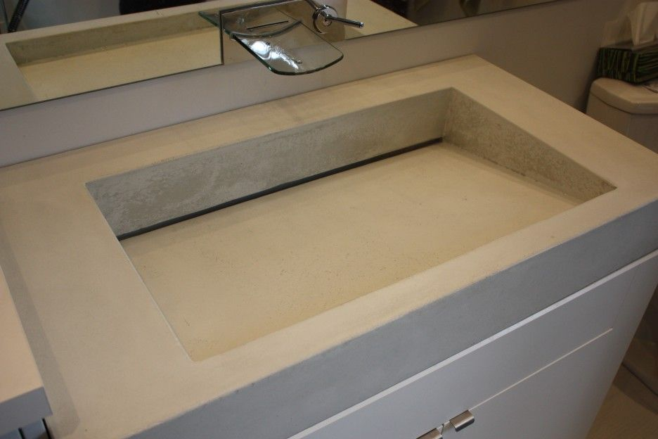 Bathroom Rectangular Grey Trough Bathroom Sink With Two Faucets On
