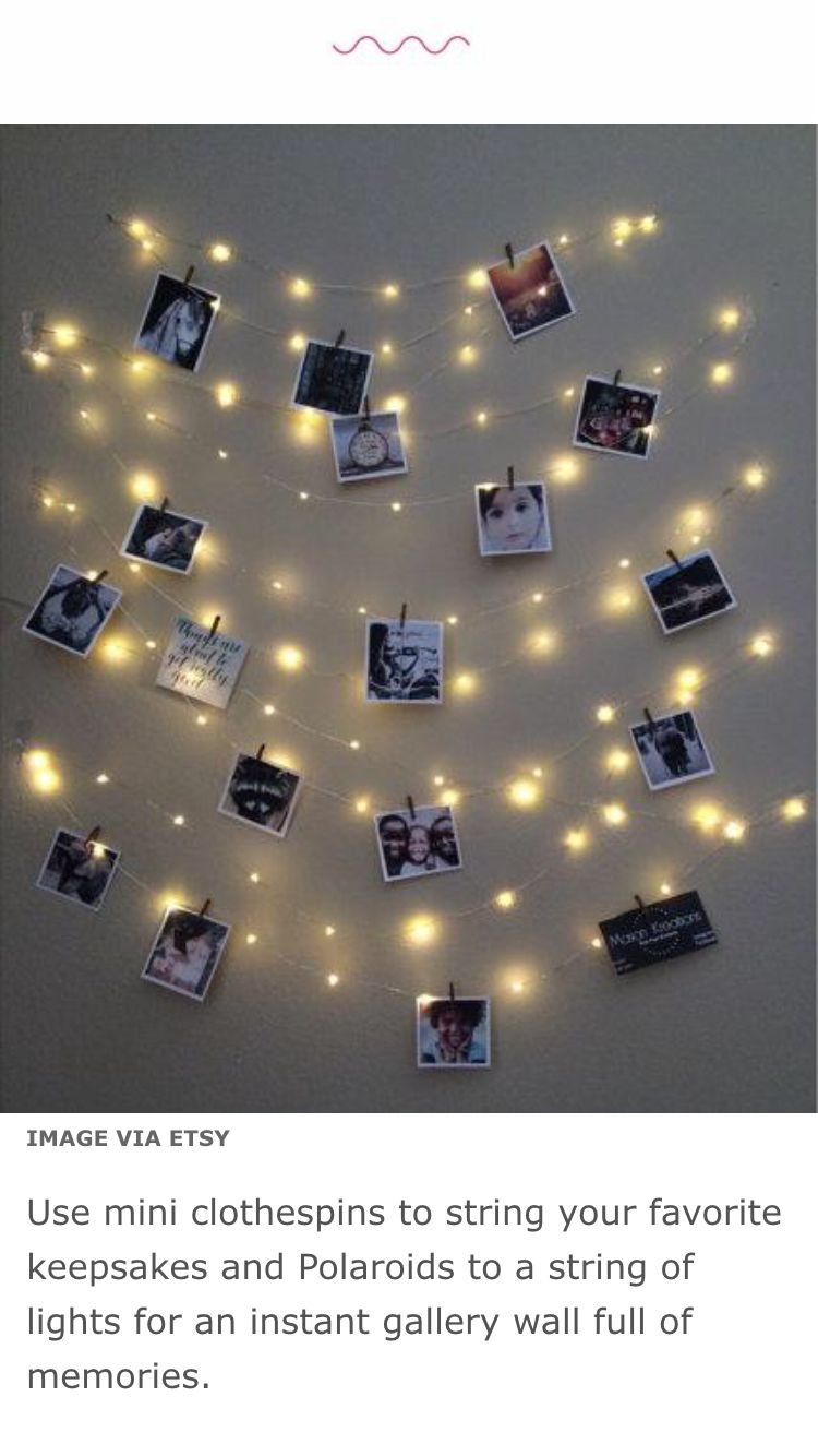 Fairy Lights And Polaroids Lichtslingers Slaapkamer Fotolijst Collages Foto S Ophangen