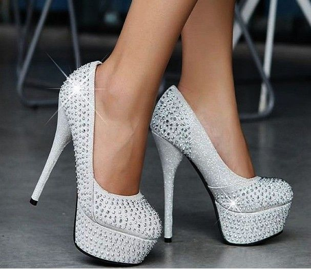 Free Shipping 14CM prom heels wedding shoes women thin heels crystal high  heel shoes platforms silver rhinestone pumps retail  35.00 e167e03a0425