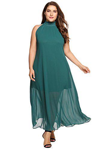 Zeagoo Womens Plus Size Chiffon Sleeveless Maxi Formal Dresses Solid
