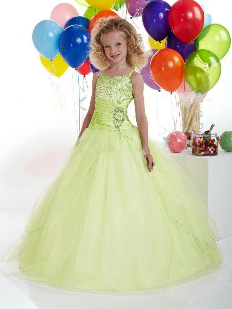 0ffcfb5d0a57 Fashion Color Ball Gown Green Dress for Flower Girl Kleines Mädchen  Festzugskleider, Mädchen Formale Kleider