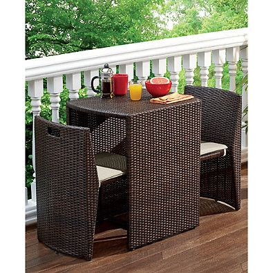 3 Piece Steel Wicker Outdoor Dining Set In Bronze Finish With Images Small Outdoor Furniture Small Patio Decor Apartment Patio Decor