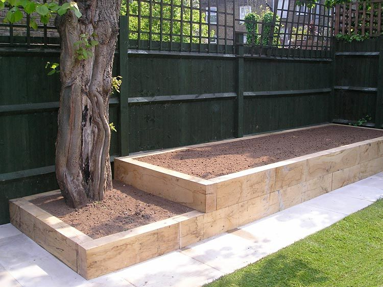 Double raised beds created around existing tree   Backyard ...