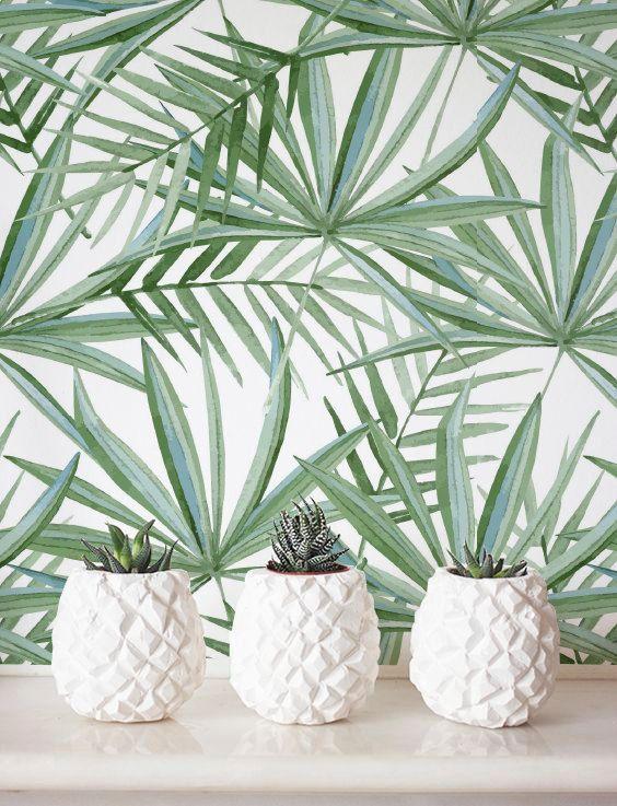 Home Wallpaper Pattern watercolor palm leaf pattern wallpaper, removable wallpaper, self