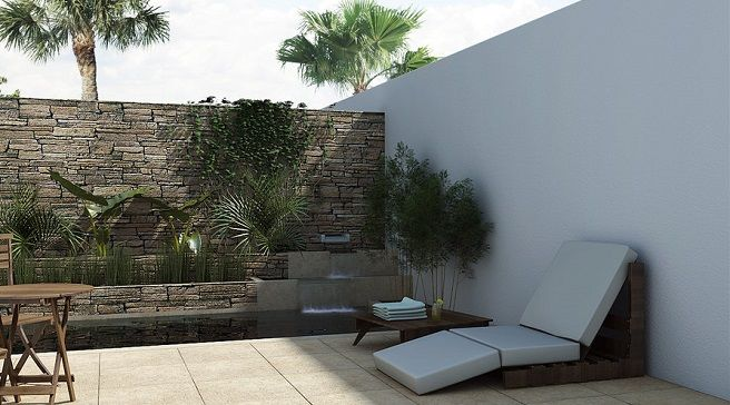 Ideas para decorar patios traseros jardin pinterest for Decoracion paredes exteriores patios
