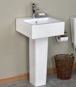 the arena pedestal sink is narrow enough to save space in the smallest bathroom
