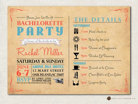 Bachelorette Invitation Bachelorette Party by OakCityPaperCompany - bachelorette invitation template