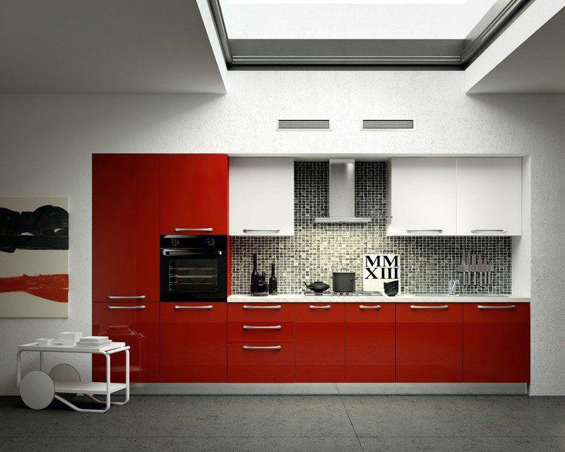 Cuisine Rouge Et Grise Qui Incarne Lidée Dune Vie Moderne - Credence carrelage grand format pour idees de deco de cuisine