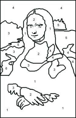 mona lisa trs bonne ide pour un jeu de d les pices de diffrentes couleur - Mona Lisa Coloring Page