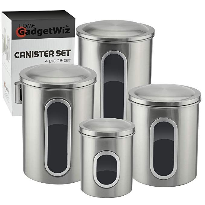Stainless Steel Kitchen Canister Set With Window Brushed Stainless Steel Anti Fingerpr Stainless Steel Canister Set Food Storage Food Storage Container Set