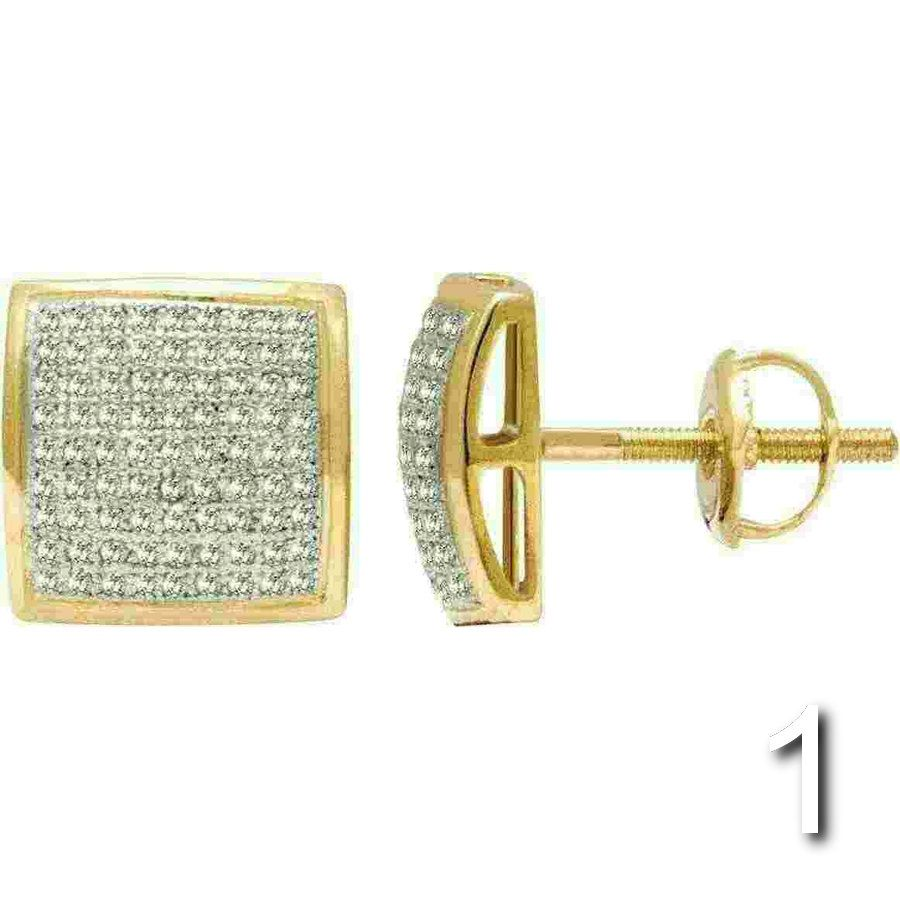 10K Yellow Gold Round Diamond Studs Pave Set Domed Square 7mm Earrings 0.15 Ct.