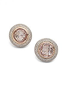 David Yurman Diamond Accented 18k Rose Gold Morganite On Earrings