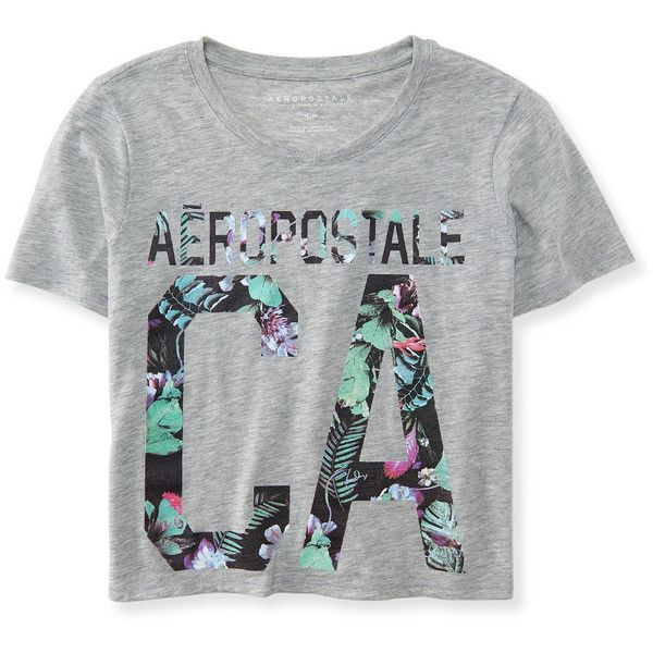 Aero CA Floral Crop Tee (32 BRL) ❤ liked on Polyvore featuring tops, t-shirts, shirts, light heather grey, crop shirts, crop top, floral print t shirt, relax t shirt and crop tee