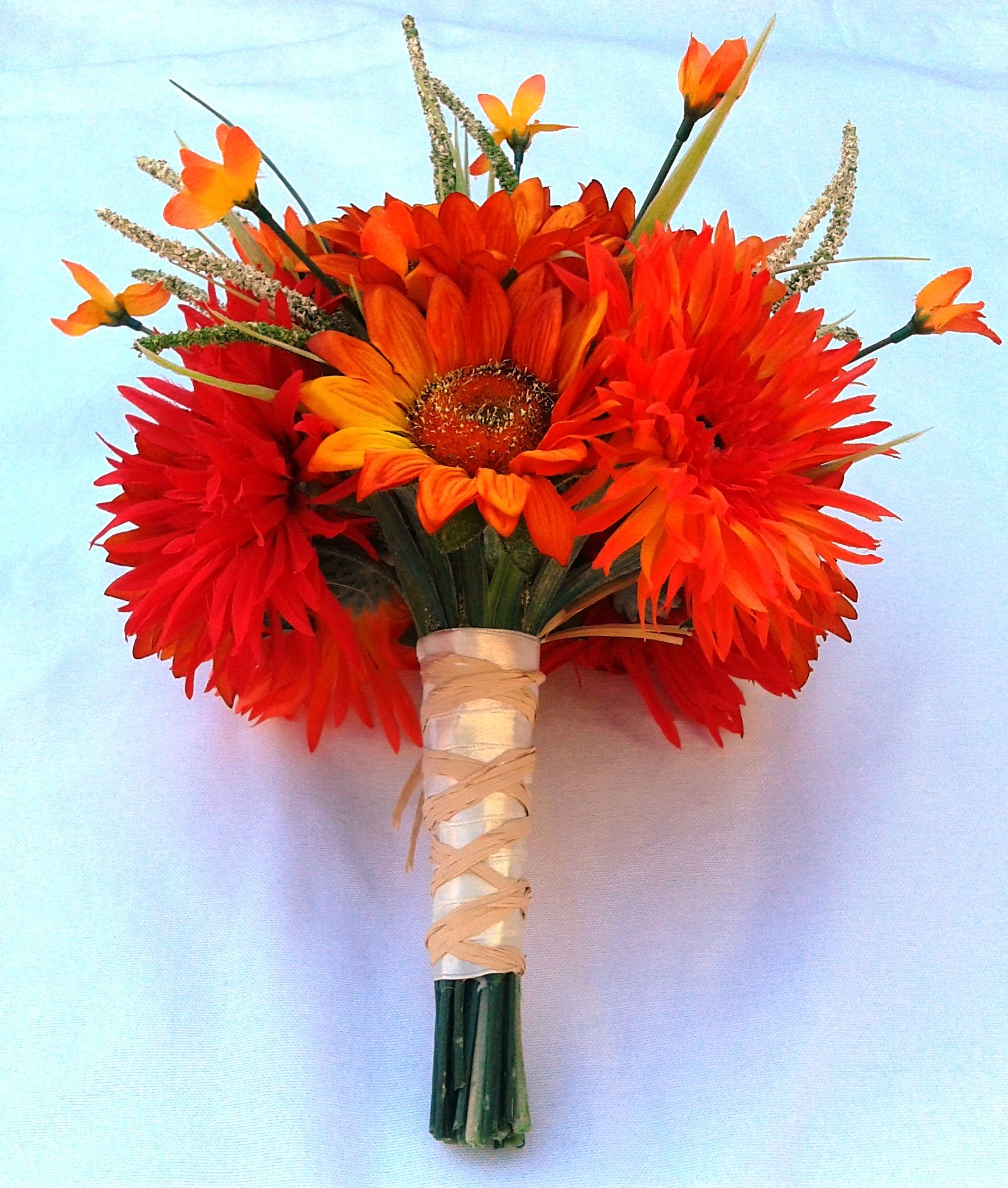 Orange Flower Arrangements For Weddings: Bespoke Burnt Orange Bridal Bouquet