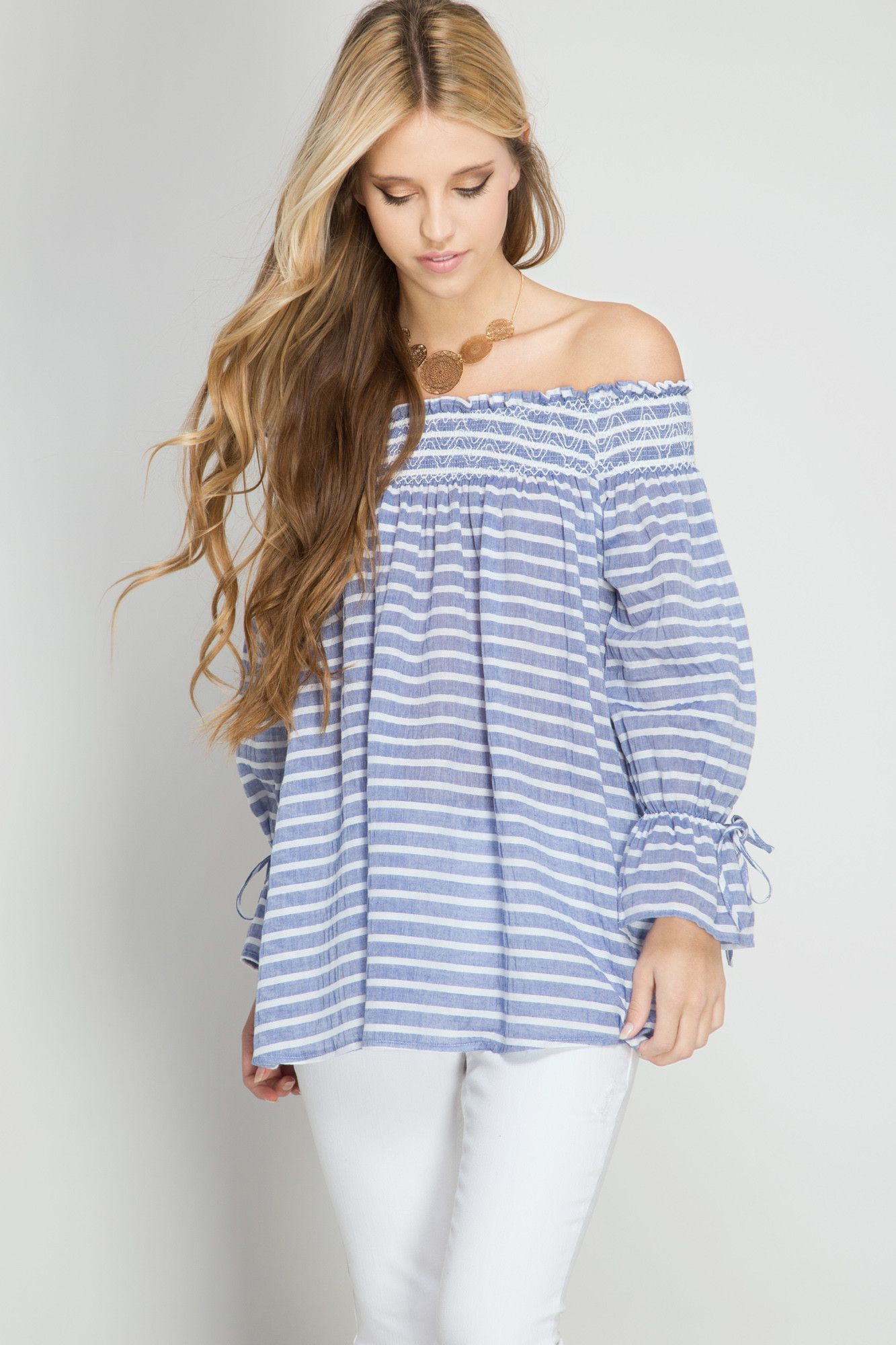 271f6878e3b Off shoulder Nautical Top | Products | Off shoulder blouse, Off the ...