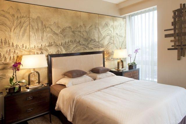 Japanische Schlafzimmer schlafzimmer japanischer stil einrichtung wandbild papier