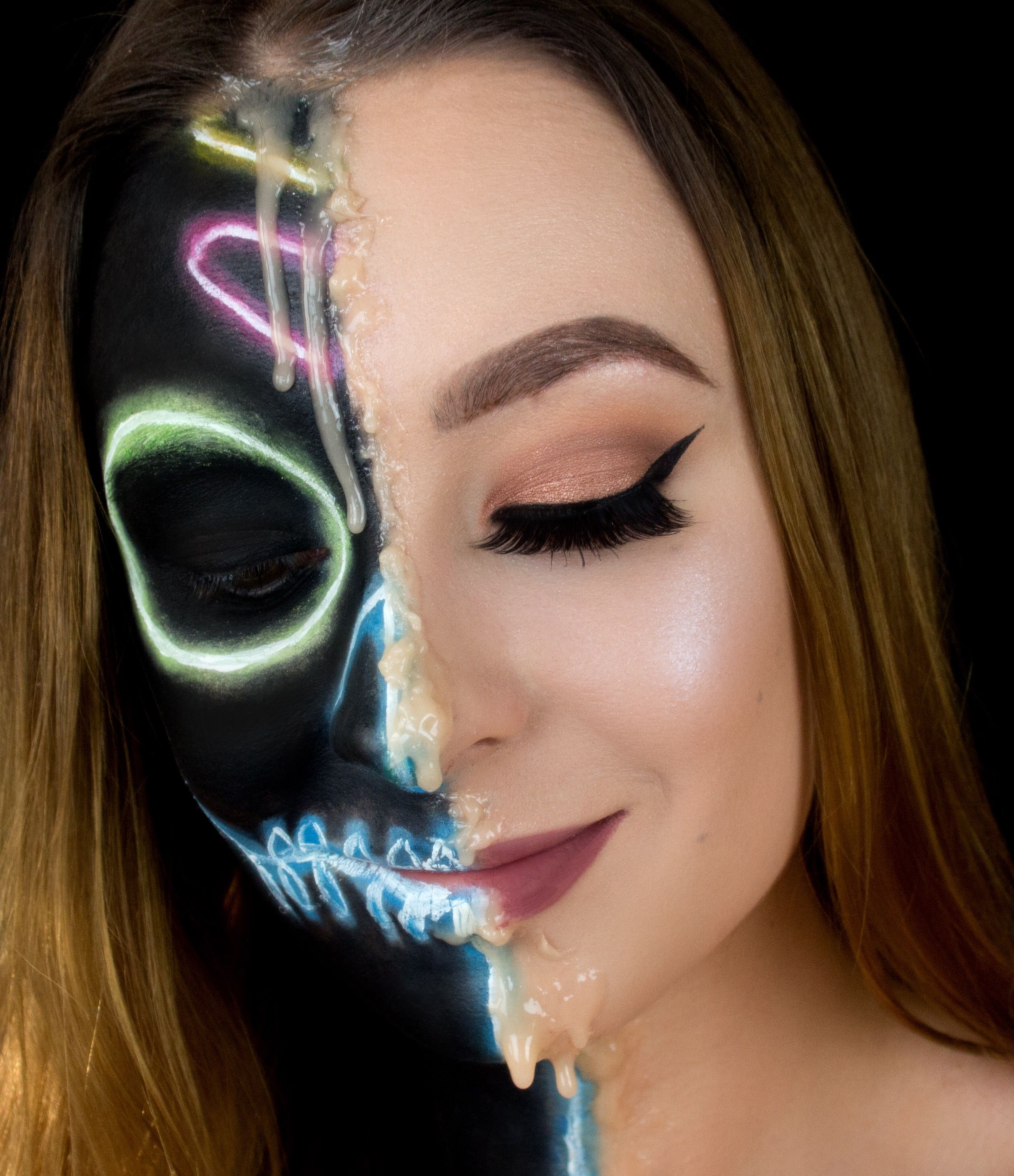 nyx face awards 2017 entry neon skull melted makeup tutorial ...