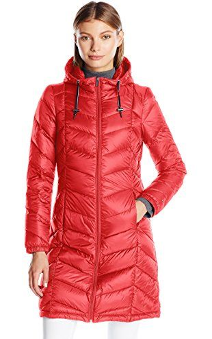 158daa9e Tommy Hilfiger Women's Long Hooded Packable Down Coat with Contrast Detail,  Red, S ❤ Tommy Hilfiger Women's Apparel