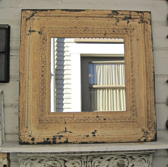 Antique Ceiling Tin Tile Mirror.  Framed 2x2 by DriveInService