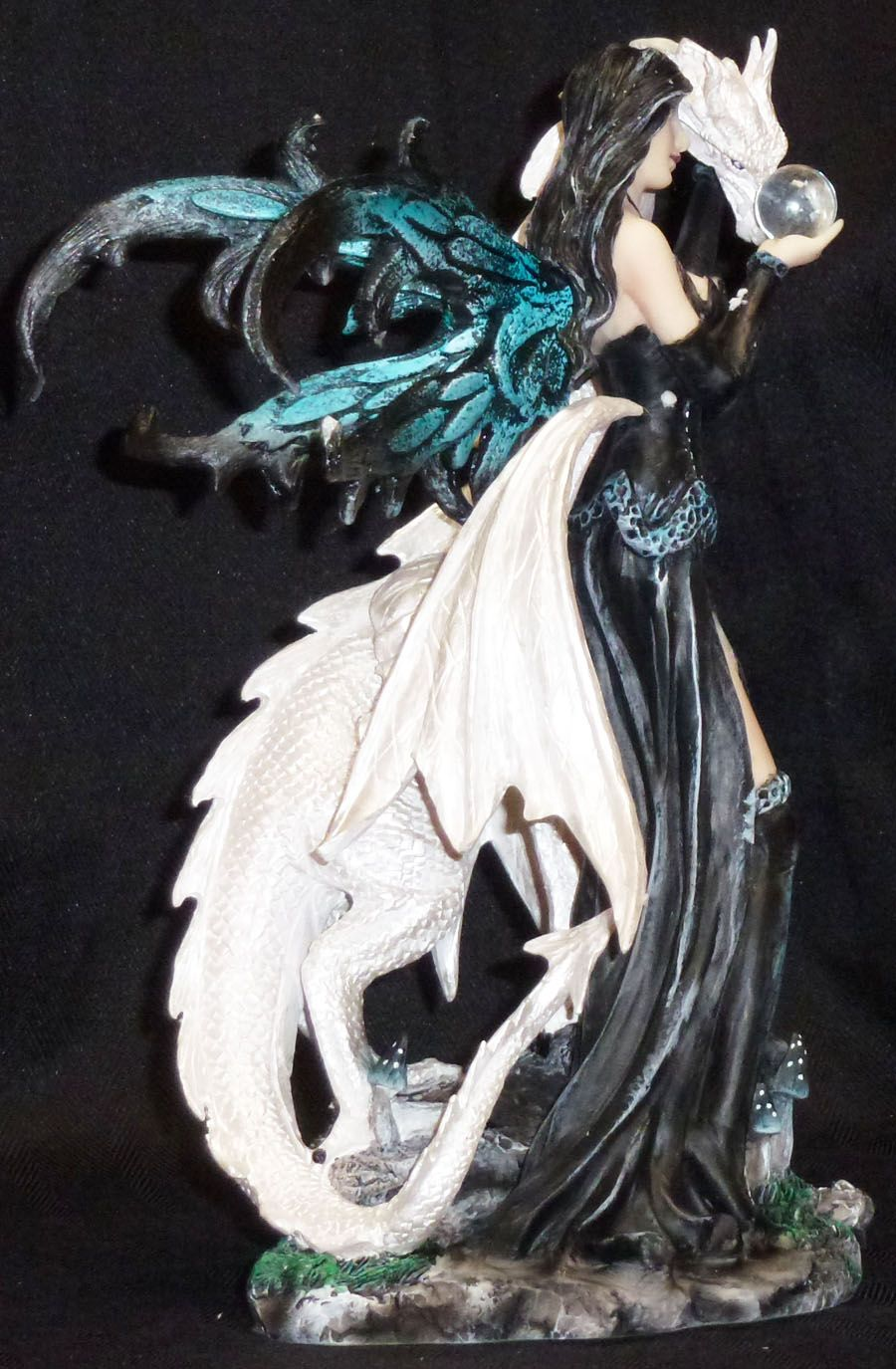 Faerie Statues Dark Fairy With White Dragon Crystal Statue Figurine In 2019