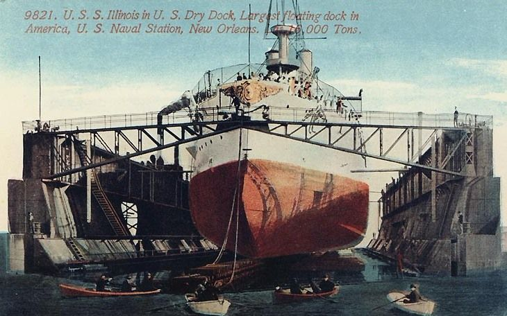 USS Illinois (BB-7).  Ordered:26 September 1896. Builder: Newport News Shipbuilding & Dry Dock Company, Newport News, Virginia. Laid down: 10 February 1897. Launched: 4 October 1898. Commissioned: 16 September 1901. Decommissioned: 15 May 1920. Renamed: Prairie State, 8 January 1941. Struck: 26 March 1956. Fate: Sold for scrap on 18 May 1956. Class & type: Illinois-class battleship. Displacement:11,565 tons.