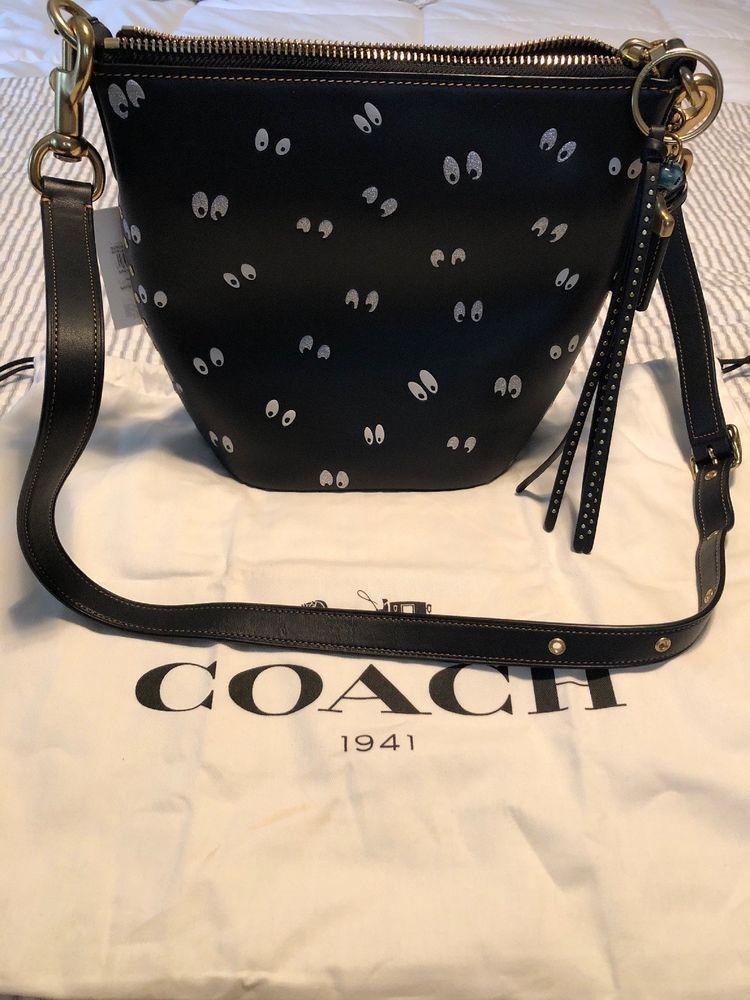 87f191dd9ff0 Disney x Coach bag purse Spooky Eyes black leather crossbody duffle 20 SOLD  OUT!
