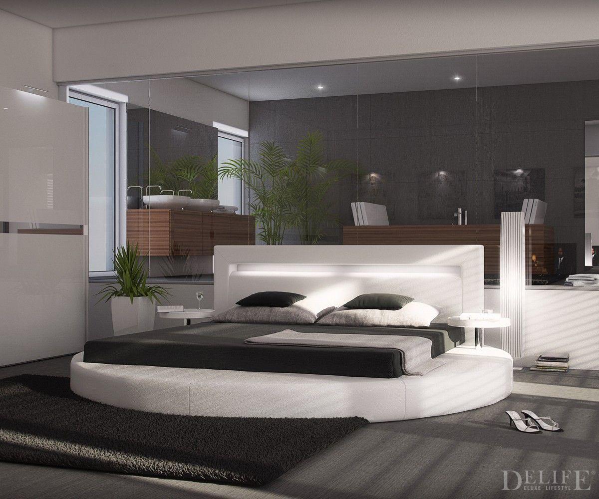 #Design #Bett Arrondi 180x200 Rund Mit 2 Nachttischen In Weiß Oppulent Und  Prachtvoll Wirst