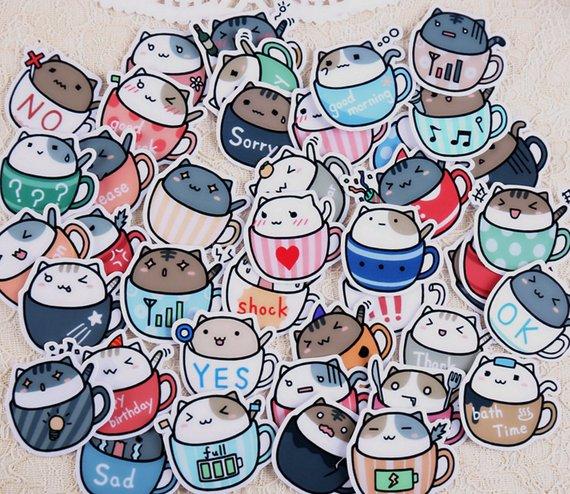 20 Pcs Coffee Cat Sticker, Cat in Coffee Cup Sticker Flakes, Coffee Cup Cat Filofax Stickers, Scrapb