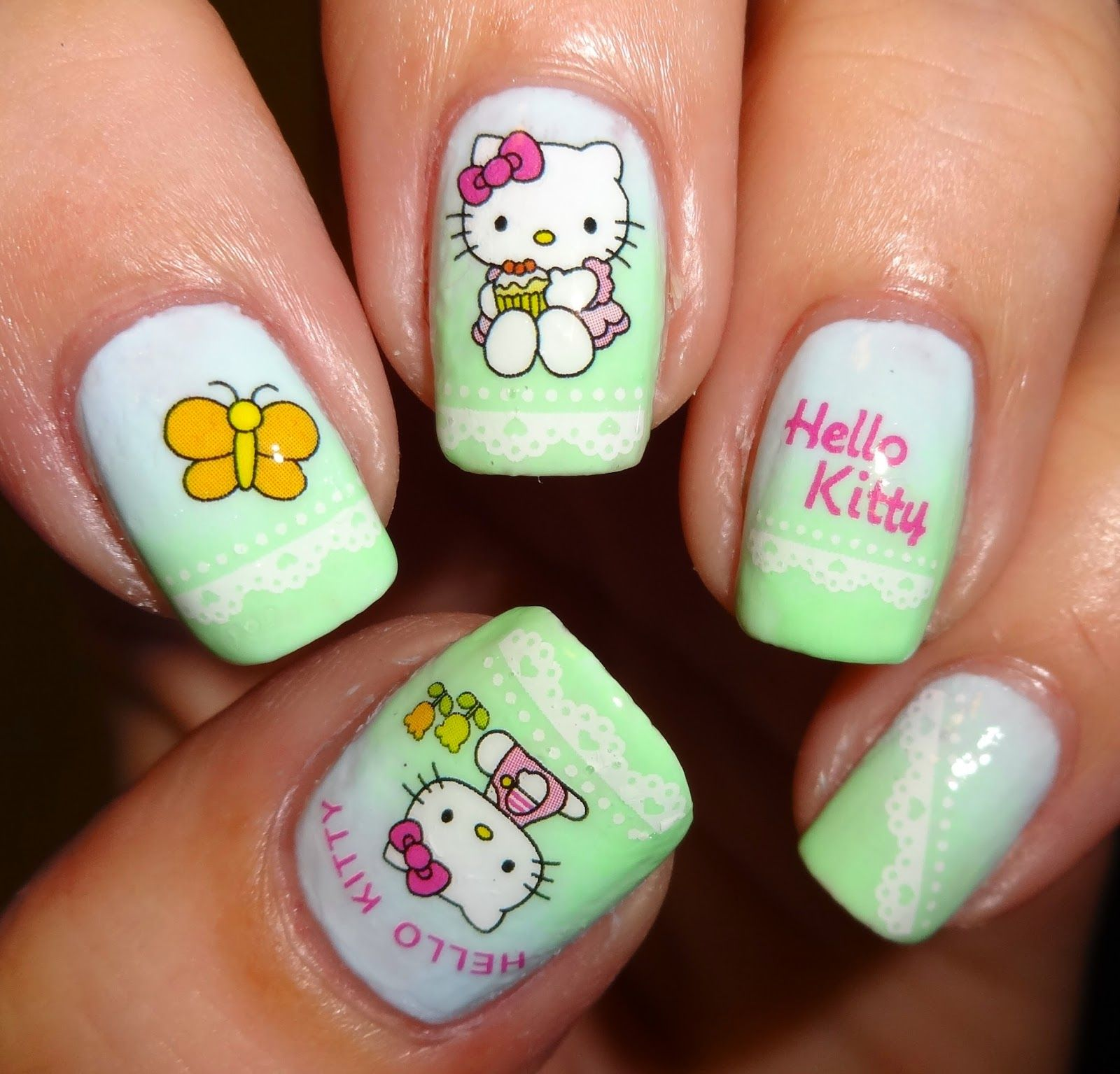 Wendy\'s Delights: Sparkly Nails Kitty Kat Water Decals | Nail art ...