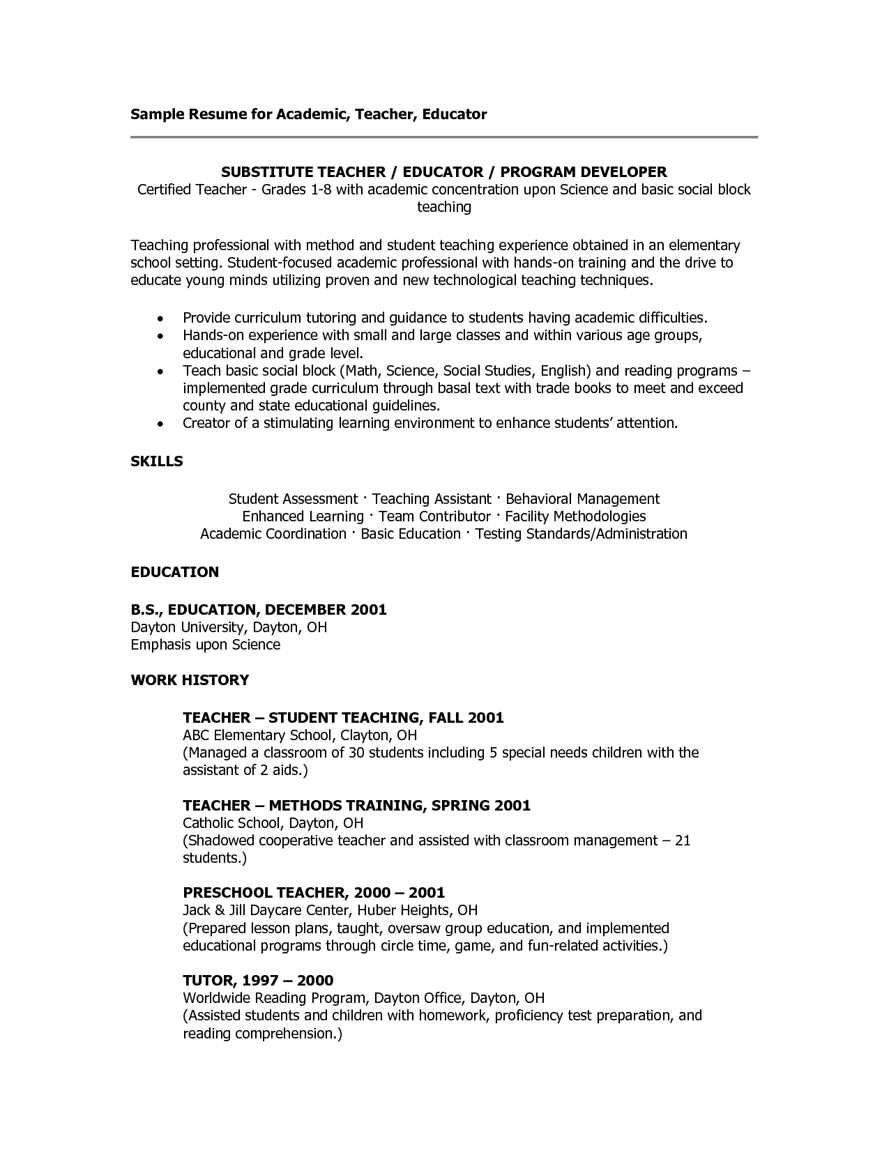 sample teacher resumes | Substitute Teacher Resume | FCS ...