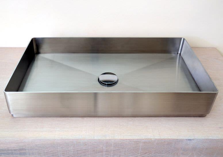 Vasque à poser / rectangulaire / en acier inox ...