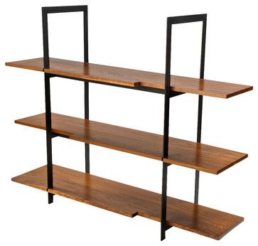 Wood and Black Steel Shelving Unit modern Display And