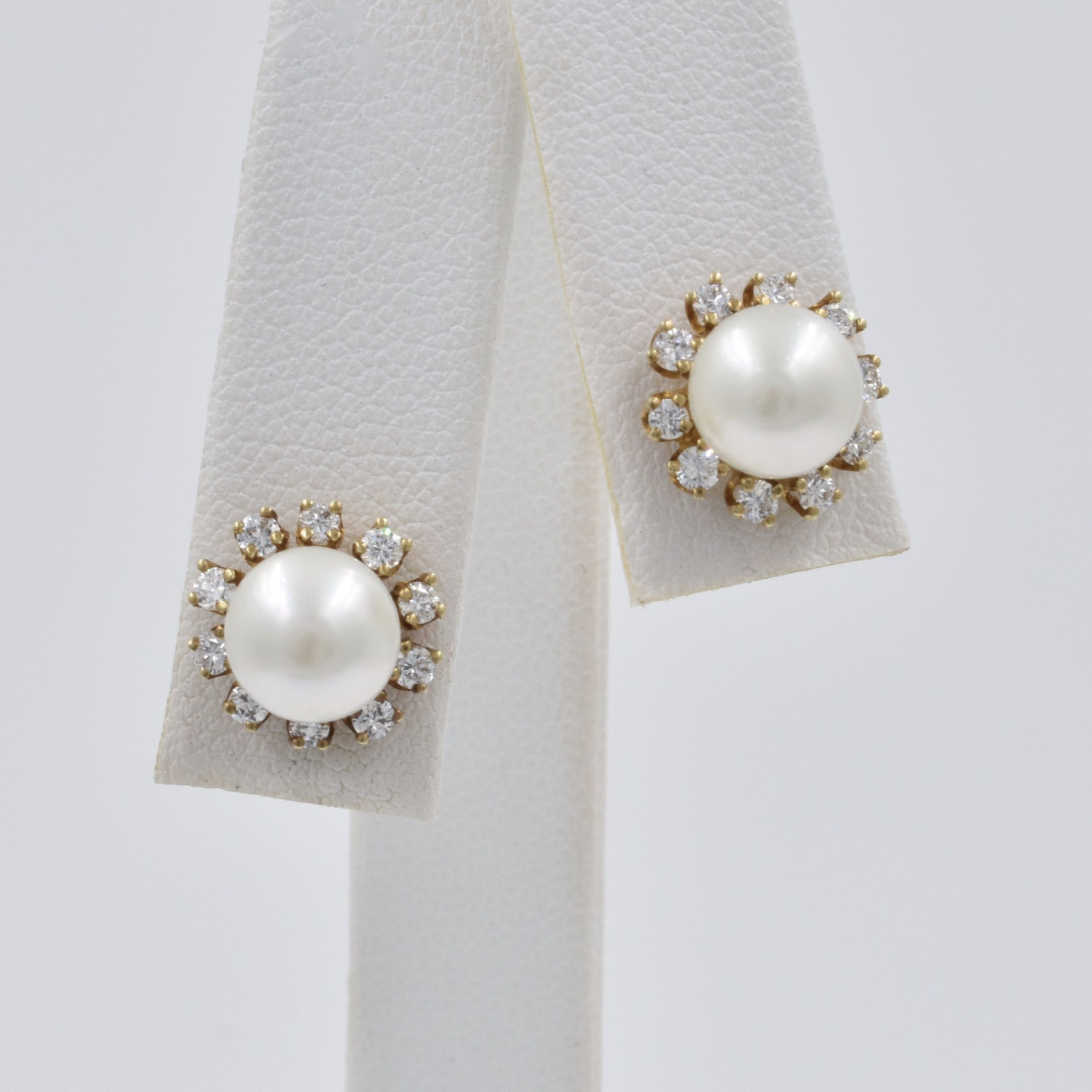 Vintage Estate 14k Yellow Gold Diamond Earring Jackets Pearl Studs Included Bridal Earrings Wedding