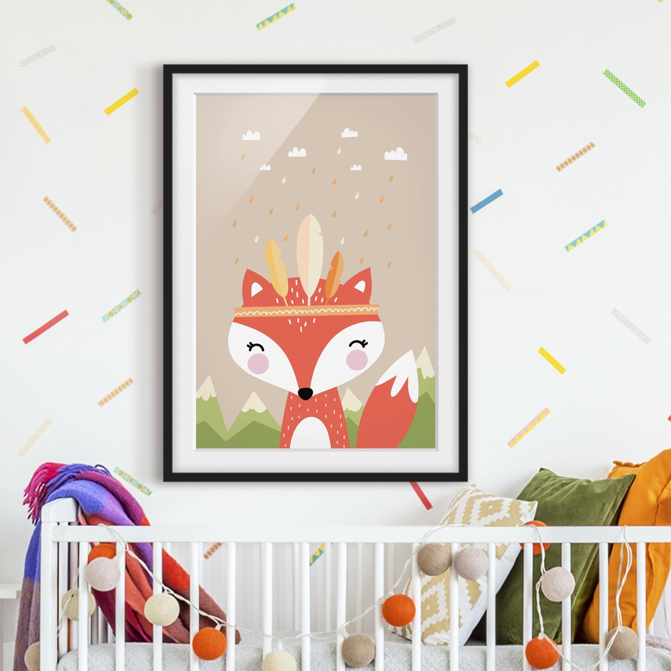 Poster con cornice Indians Fox Verticale 43 (con