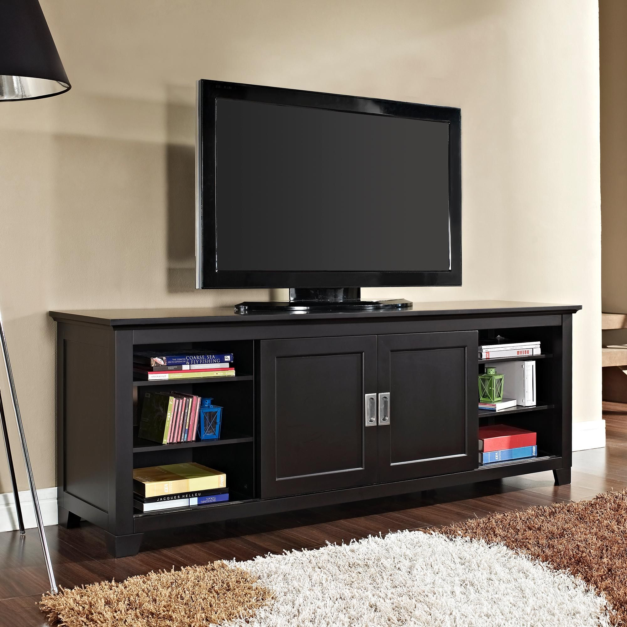 Amazon Com We Furniture 70 Wood Tv Stand With Sliding Doors