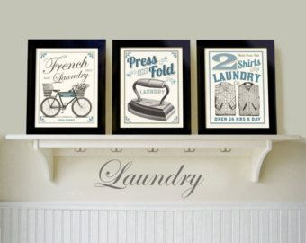 French Country Laundry Room Signs Art Decor Set Of 3 Pr Ints Wall