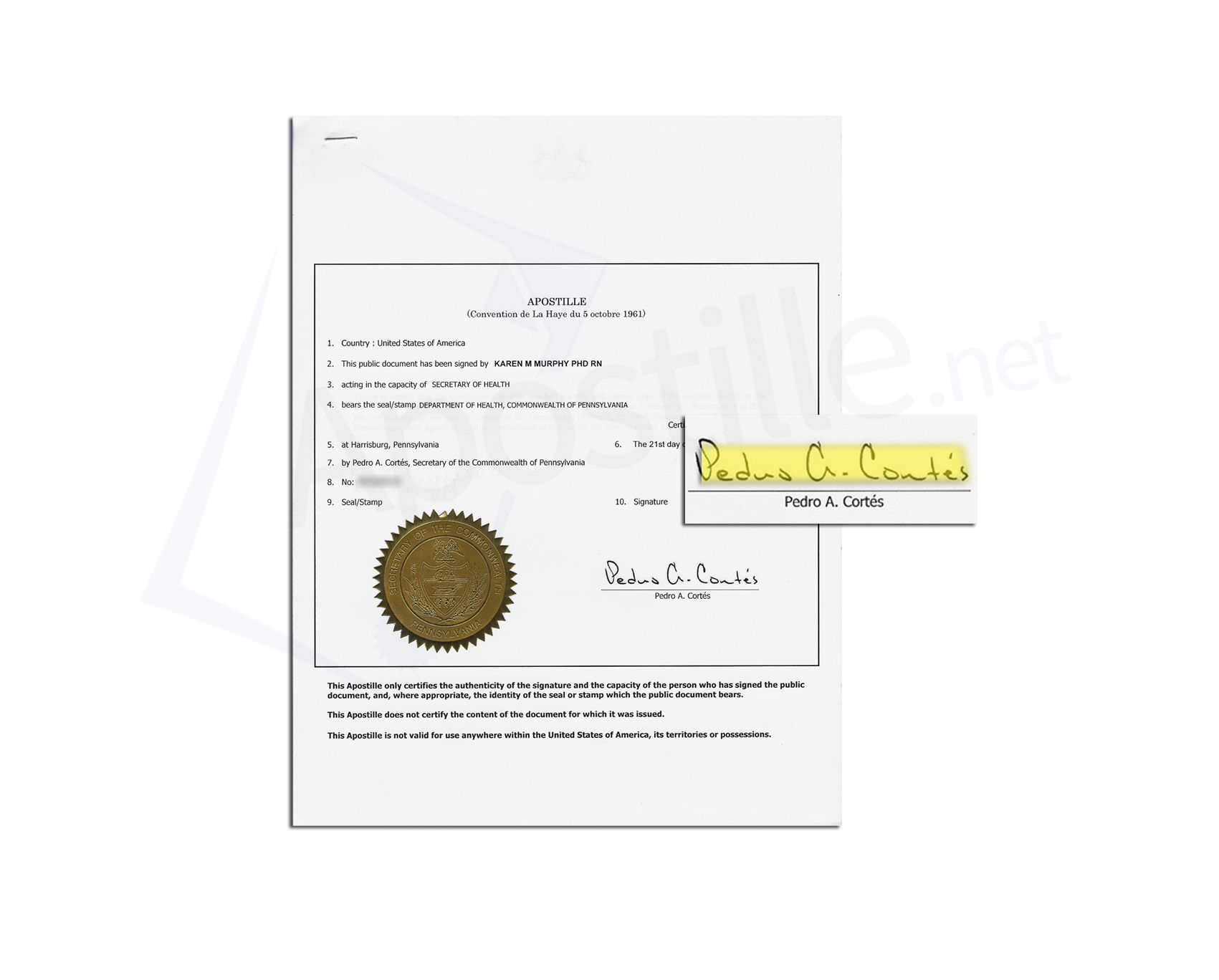State of Pennsylvania Certification of Birth issued by Marina O ...