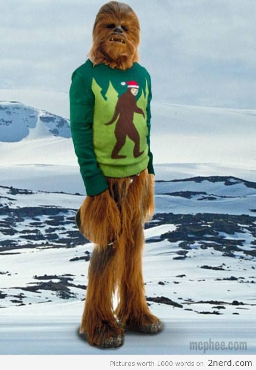 Chewbacca's Ugly Sweater - http://2nerd.com/funny-pics/chewbaccas ...