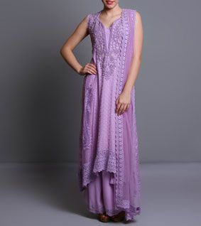 Purple Georgette & Net Anarkali Suit With Chikankari