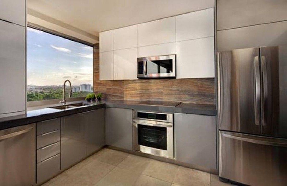 Metal Finish Kitchen Design Modern Small Small Modern Kitchens Modern Kitchen Design