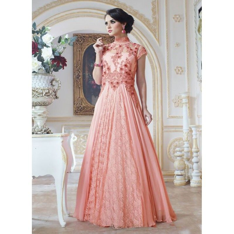 Eid Special Designer Peach Color Party Wear Gown -9603( OFB-311 ...