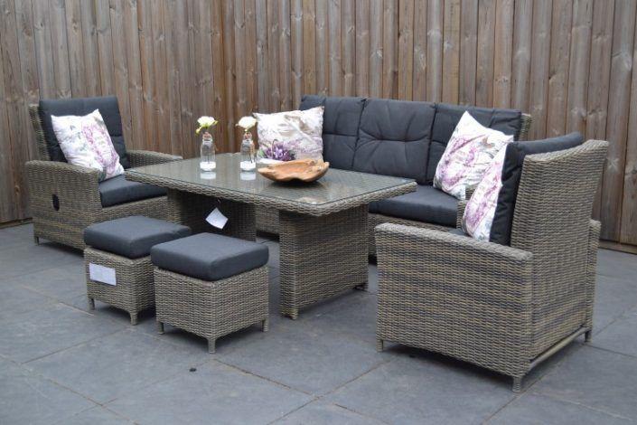 Maryland Verstellbares Dining Lounge Set 3er Mit Esstisch Und 2 Hocker Sandgrau Meliert Garten Mobel Fur Dich Terasse Mobel Gartenmobel Lounge