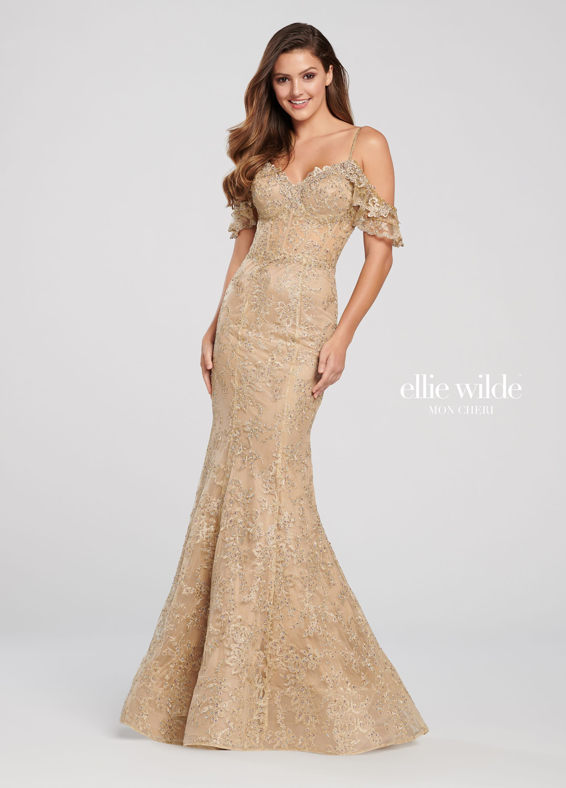a1a7843e397 Cold Shoulder Beaded Lace Trumpet Prom Dress- EW119081 in 2019 ...