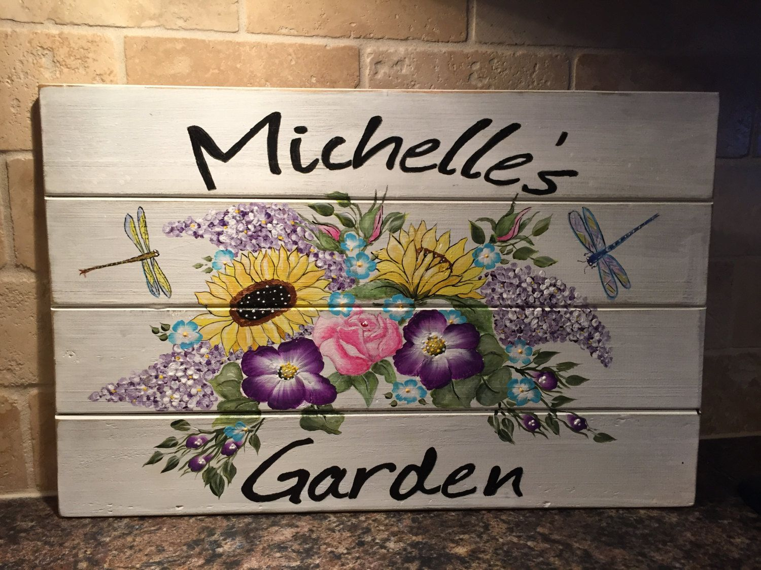 Charming Garden Sign,hand Painted, Custom Ordered, Personalized, Flowers,  Sunflowers, Purple