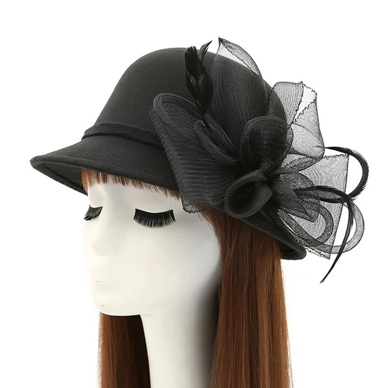 9b4f1284336 Women Ladies Fedoras Hats Female Bowler Spring Winter Mesh Feather Flower  Hat Lady Wool Hat Dome
