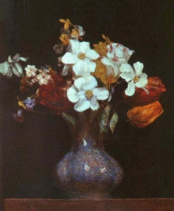 Fantin-Latour, Henri (b,1836)- Narcissus & Tulips -2b