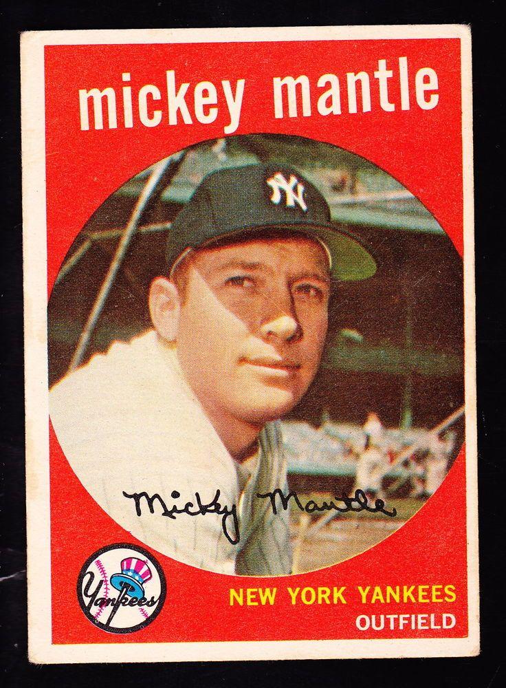 1959 mickey mantle topps baseball card new york yankees